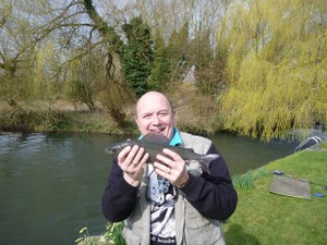 Scoop's lovely 1lb 7oz grayling. They don't come much bigger than that on the upper Avon.