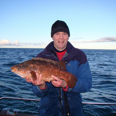 Ben shows off the huge wrasse of 6lb 10oz which makes him the envy of the civilised world